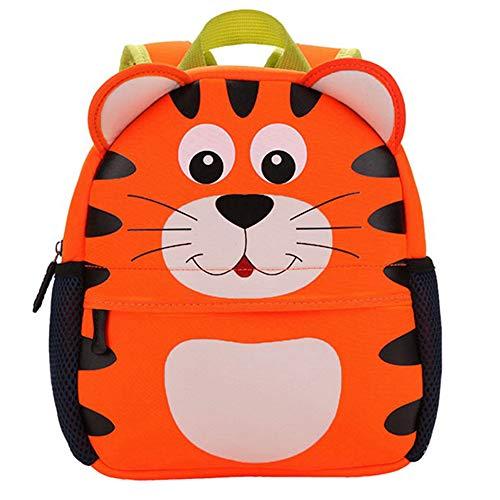 Mochila Infantil para Niños Primaria Pequeña Guardería Mochila Preescolar para Niños de 2-5 Años Dibujo de Animal Lindo (Tigre, 21 * 8 * 26CM)