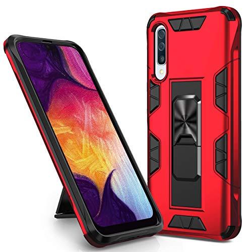 KUAWEI A50 Hülle Samsung Galaxy A50/A50S/A30S Handyhülle Hülle Cover Doppelte Schutzschicht Handyhülle mit Ständer Funktion & Auto Halterung Funktion für Samsung Galaxy A50/A50S/A30S (Rot)