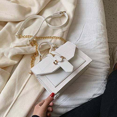 LOH Pierre Motif en Cuir Couleur Unie Bandoulière Sacs Femmes Chaîne Épaule Messenger Sac Lady Sacs À Main, Blanc, 20 cm x 15 cm x 8 cm