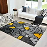 HR-Yellow/Grey/Silver/Black/Abstract Area Rug Modern Contemporary Circles and Wave Design Pattern (5' x 7')