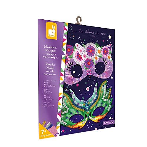 Janod mosaicos Máscaras-Les Ateliers du Calme-Kit Infantil de Manualidades Creativas-Desarrolla la motricidad Fina y la concentración-A Partir de 7años (JURATOYS J07956)