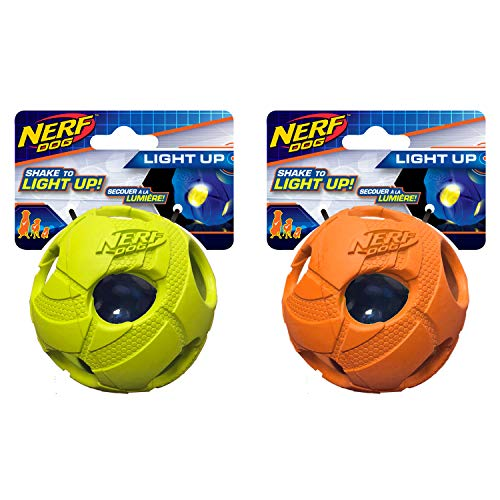 Nerf Perro Mediano Bola de Golpe de LED Luminoso Verde & Naranja Perro Juguete (2Unidades)