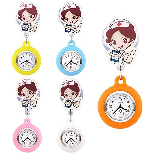 JSDDE Uhren 5er Set Krankenschwesteruhr Set FOB Uhr Frech Emoticon Emoji Stern Schwesternuhr Pflegeruhr Silikon Hülle Taschenuhr Pulsuhr Broschenuhr Uhren (Krankenschwester)
