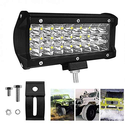 Barra Luminosa a LED da 7 Pollici 72W 7200LM 3 File Flood LED Pods luci Flood Spot Combinato per Camion Camion rimorchio del Trattore Fuoristrada