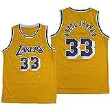 QQA # 33 Kareem Abdul-Jabbar Squadra di Los Angeles Maglia da Basket Traspirante Resistente all'Usura Uniforme da Basket Sport Fitness Magliette,XXL(190cm/95~110kg)