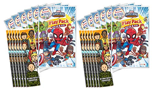 Bundle of 12 Marvel's Super Hero Adventures Grab & Go Play Packs and 12 KaleidoQuest 'Everyday Heroes' Heroes-Themed Colorable Bookmarks