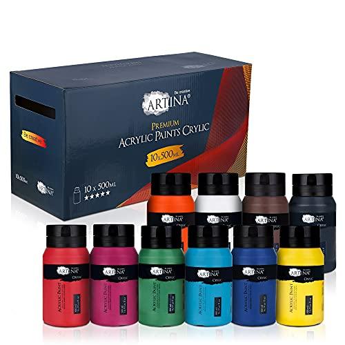Artina Set Colori acrilici per Pittura Crylic - 10 barattoli x 500ml - per attività artistiche - Colori ad Alta pigmentazione - Colore Acrilico in Barattolo