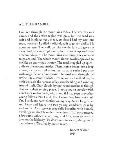 A Little Ramble: In the Spirit of Robert Walser