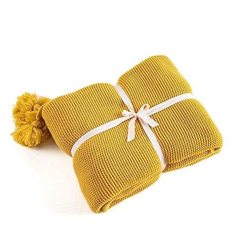 Cvghnfk Mantas Manta Mantas for Camas sofá Amarillo de Punto de la Manta del Tiro sólido Manta Suave borlas del hogar del Recorrido Silla Sofá Cama (Size : 50x62in)