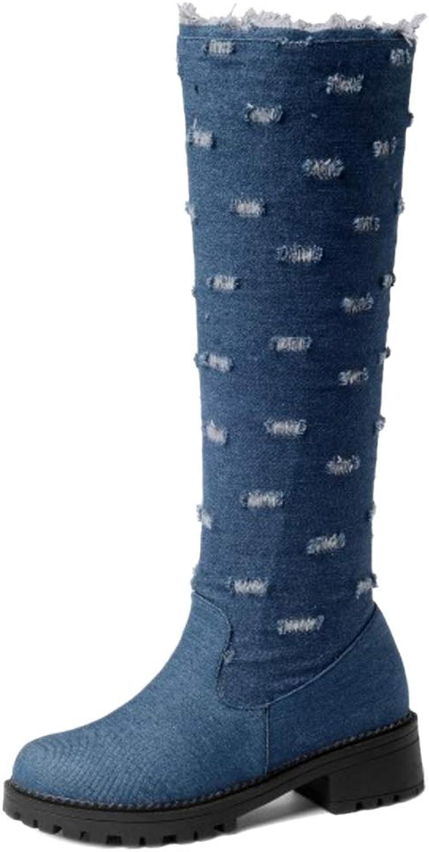 AicciAizzi Women Fashion Block Heel Knee Boots