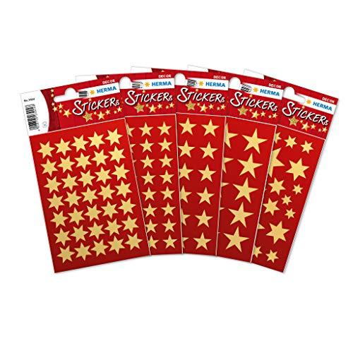 HERMA 15500 Weihnachtssticker Gold Set, selbstklebende Weihnachtsdeko Geschenk Aufkleber, 423 kleine glänzende Weihnachtsstern Etiketten