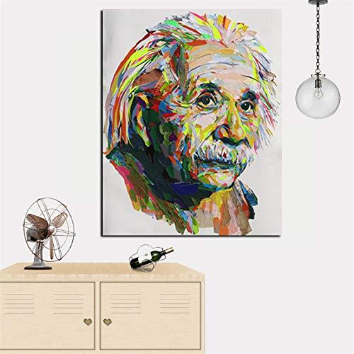 yaonuli HD-Druck abstrakte Wissenschaftler Pop-Art Moderne Ölgemälde inspirierende Poster auf Leinwand Wohnzimmer Sofa Dekoration rahmenlose Malerei 40x53cm