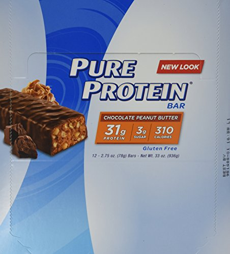 Pure Protein Bars, High Protein, Nurtritious Snacks to Support Energy, Low Sugar, Gluten Free, Chocolate Peanut Butter, 1.76oz, 12 Pack