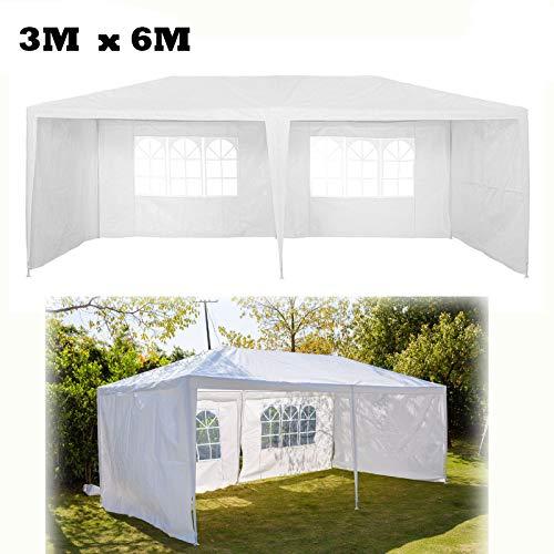 Feidak tuinpaviljoen 3X6M met 4 afneembare zijpanelen waterdicht outdoor PE partytent luifel partij bruiloft tent stevige waterdicht, wit