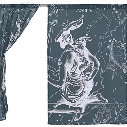 jstel 2Pcs Voile Fenster Vorhang, Fantasy Sternbild Graph AURIGA, Tüll Sheer Vorhang Tuch Querbehang 139,7x 198,1cm Zwei scheibenelementen Set, Polyester, blau, 55x78x2(in)