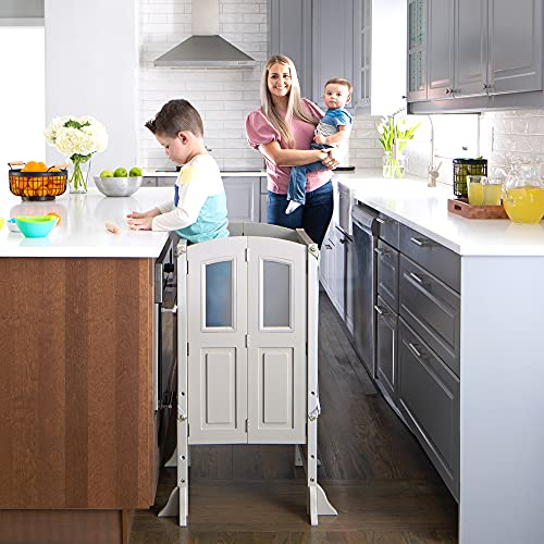 MARTHA STEWART Kitchen Helper Stool by Guidecraft with 2 Keepers - Taupe: Wooden, Foldable, Adjustable Height, Safe Cooking Learning Step Stool for Toddlers