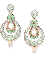 Zaveri Pearls Gold Tone Beautifully Enamelled Dangle & Drop Earring For Women-ZPFK7345