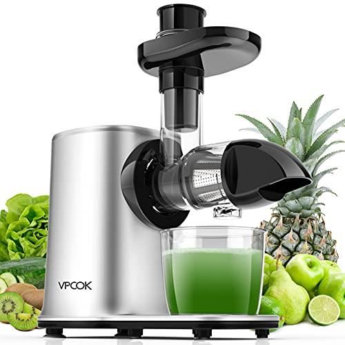 Vpcok Slow Juicer Entsafter Gemüse und Obst mit 2 Geschwindigkeit & Umkehrfunktion & Saftkanne & Reinigungsbürste (MEHRWEG)