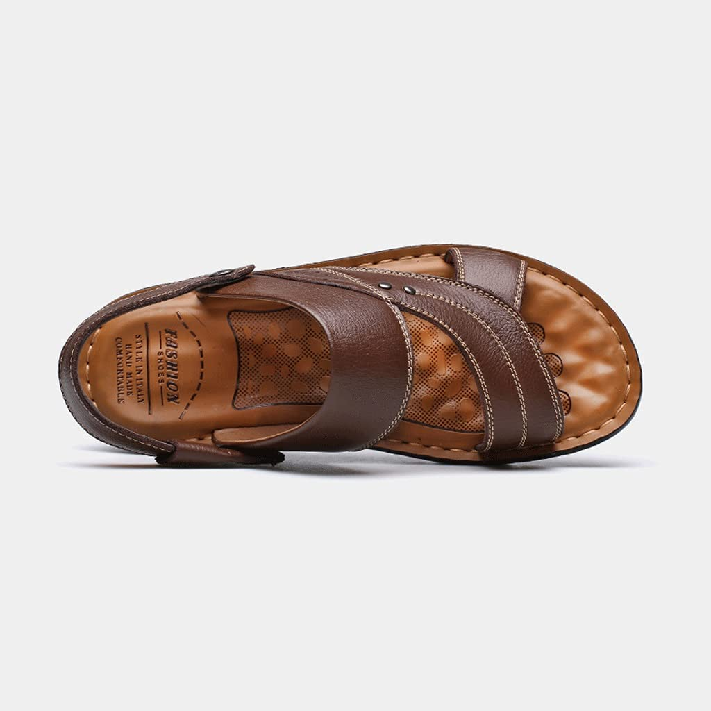 Men's Summer Sandals, Open-Toe Adjustable Outdoor Soft-Soled Leather Slippers, Flip-Flop Beach Shoes, Casual Dual-use (Color : Brown, Size : 42 EU)
