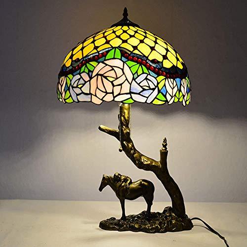 DIMPLEY Tischlampe Tiffany Style Buntglas Lampenschirm Nachttische Lampen Vintage Harzreiten Schreibtischlampe für Wohnzimmer Schlafzimmer