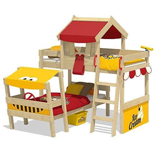 WICKEY Lit double CrAzY Trunky Lit mezzanine Lit enfant 90x200 pour 2 enfants design oblique avec sommier à lattes, rouge-jaune
