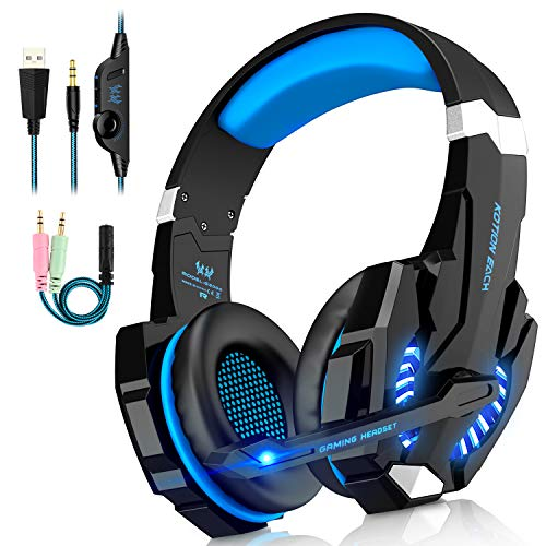 Auriculares Cascos Gaming de USB Mac Estéreo con Micrófono Gaming Headset G9000 con 3.5mm Jack Luz LED Bajo Ruido Compatible con Gamer PC /Nintendo Switch/ PS4/Xbox One/Móvil