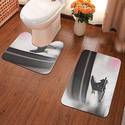 Trista Bauer Bad Antiskid Pad Plattenspieler Gedruckte Badteppichmatten Set 2 Stück Soft Pads Badematte + Wasseraufnahme Kontur 40x60cm