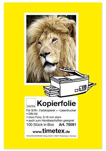 TimeTex Kopierfolie DIN A4 - klare Folie 0,10 mm stark - für schwarz/weiß Kopierer, Farbkopierer und Laserdrucker - TimeTex 70091
