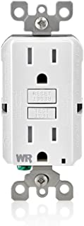 Leviton GFWT1-W Self-Test SmartlockPro Slim GFCI Weather-Resistant and Tamper-Resistant Receptacle with LED Indicator, 15-Amp, White