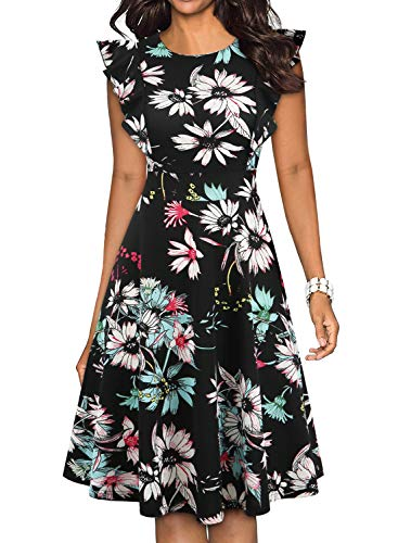 YATHON Black Floral Print Casual Dresses for Women Vintage Classic Fit and Flare Swing A line Party Work Business Church Semi Formal Evening Dress (S, YT001-Black Floral 02)