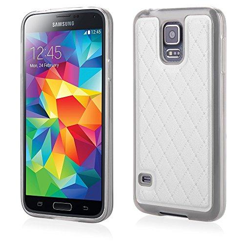 'Elegante TPU Silicona Funda Back Case Funda Color Blanco con trendiger Posterior de Piel sintética para Samsung Galaxy S5Cover Carcasa Funda Funda Bumper