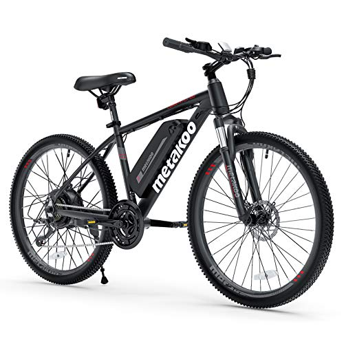 """METAKOO 26"""" Electric Bike Cybertrack 100, 3 Hours Fast Charge, BAFANG 350W Brushless Motor, 36V/10.4Ah Removable Lithium-Ion Battery, Electric Mountain Bike with Shimano 21-Speed and Suspension Fork"""
