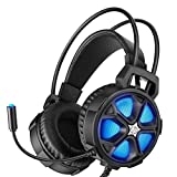 HP Gaming Headset for PS4, Xbox one PC Controller with Bass Surround Sound, LED Light and Noise isolating Over Ear Headphone with mic Plus 3.5mm USB Cable for Laptop Mac Nintendo Switch Games