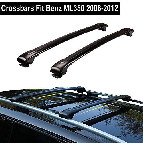 KPGDG Lockable Roof Racks Cross Bar for Mercedes Benz ML350 2006-2012 Baggage Luggage Rail Crossbar - Black