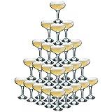 Rink Drink Set für 5-stöckige Champagner-Pyramide - Sektschalen im Vintage-Stil