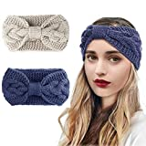 2 Piezas Diademas de Invierno para Mujer, Diadema de Punto de Inviern, Elástico Caliente Crochet Knit Bow Knot Cinta de Cabeza Accesorio Pelo para Mujer Niñas (Azul y Blanco)