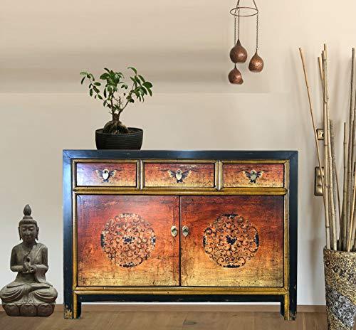 OPIUM OUTLET Asia Kommode Schlafzimmer, Sideboard Vintage Schränkchen Anrichte orange Shabby Chic Stil