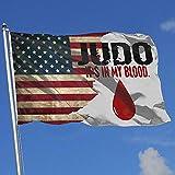 Elaine-Shop Banderas al Aire Libre Bandera de EE. UU. Judo Está en mi Sangre Bandera de 4 * 6 pies para la decoración del hogar Fanático de los Deportes Fútbol Baloncesto Béisbol Hockey