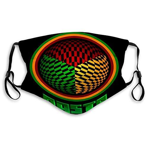 Gesichtsschutz Rasta Icon Emblem Jamaica Colors Wiederverwendbare Mundschutz Anti-Staub-Gesichtsabdeckung für Erwachsene Kinder Waschbarer -Gesichtsschal Mundschal