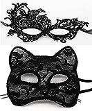 Luxury Venetian Masquerade Mask Women Girls Sexy Lace Black Cat Eye Mask for Fancy Dress Christmas Halloween Mardi Gras Party (Black)