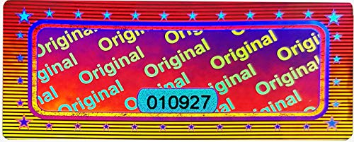 3D Hologram Original Seal with Serial Number 46 x 20 mm Shiny Silver – Safety Seal, Quality Seal, Guarantee Seal, Safety Labels, Self-Adhesive Label, Anti-Fake Sticker, Security Label Sticker Silver
