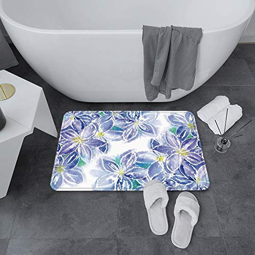 Tapis de Bain antidérapant 60x100 cm,Décor de fleurs aquarelle, conception de bo,Tapis de Sol Lavable en Machine avec Microfibre Douces Absorbant l