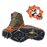 WXBXIEJIA Steigeisen für Bergschuhe, Shoe Spikes, Non-Slip Shoes Spike, Shoe Claw Crampons for Shoes in Winter, für Wandern Klettern Bergsteigen Trekking High Altitude Winter OutdoorOrange-Crampons