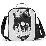 Delerain Bear - Fiambrera aislada con asa y correa para el hombro, bolsa de picnic para niños, niñas, niños, preescolar, oficina, picnic