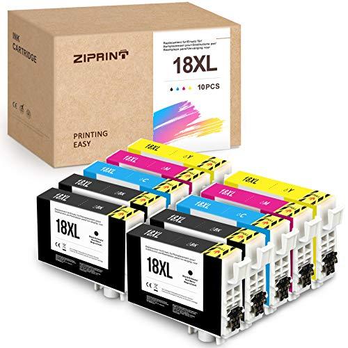 10 Pack Ziprint 18XL Cartuchos de tinta compatibles con Epson Epson 18XL T18XL con Epson XP-425, XP-422, XP-415, XP-412, XP-325, XP-305, XP-322, XP-315, XP-302, XP-402, XP-215, XP-205, XP-225