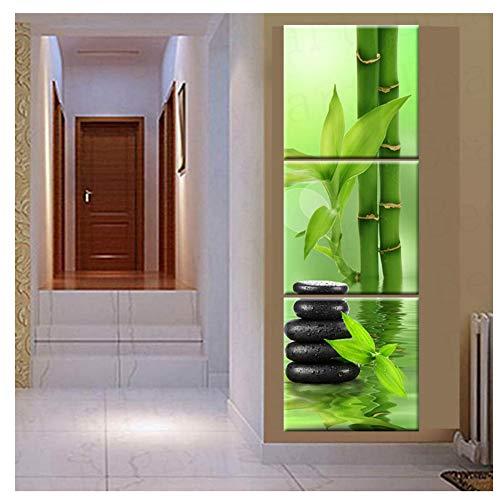 wzgsffs Leinwand Bilder Wandkunst Leinwand Malerei Stein Bambus Dekoration Für Wohnzimmer-50x50 cm Kein Rahmen