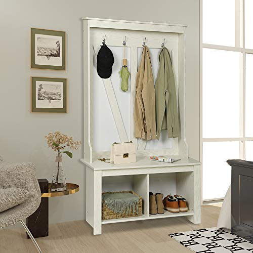 Itaar 38 Inch Wide Entryway Hall Tree with Storage Shoe Bench, Industrial Coat Rack with Hanging Metal Hooks, Shoe Bench and Storage Shelf Organizer 3-in-1 for Entryway and Living Room, White, Wood