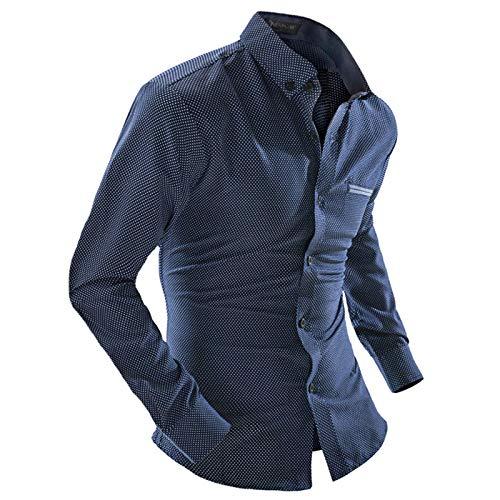 Camisas de Hombre Otoo e Invierno Oficina de Negocios Casual Polka Dot Camisas de Manga Larga Camisas Casuales Simples y verstiles XL