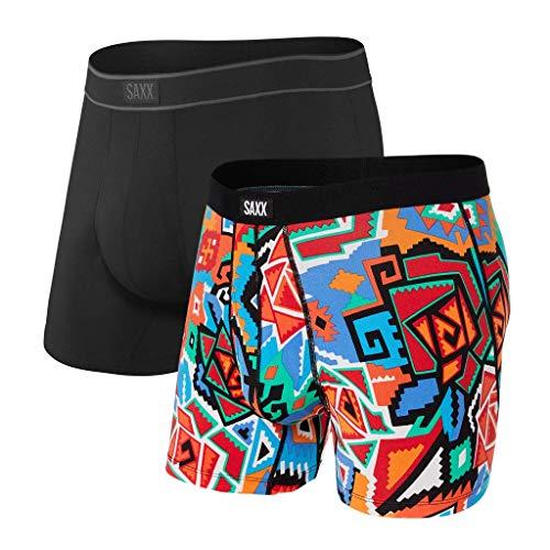 Saxx Underwear Men's Boxer Briefs - Daytripper Boxer Briefs with Built-in Ballpark Pouch Support – Pack of 2, Azz Tech/Black, Large
