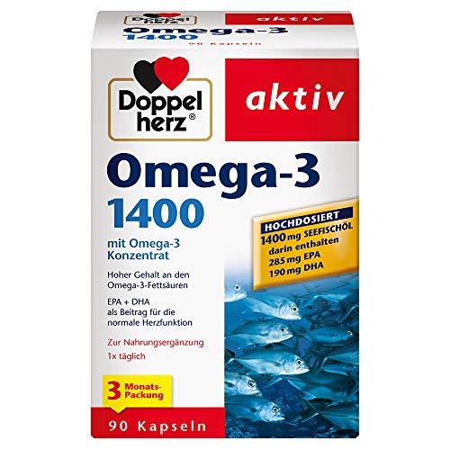 Doppelherz Omega-3 1400 mg – Hochdosiertes Omega-3-Konzentrat plus Vitamin E – Hoher Gehalt an Omega-3-Fettsäuren – 90 Kapseln